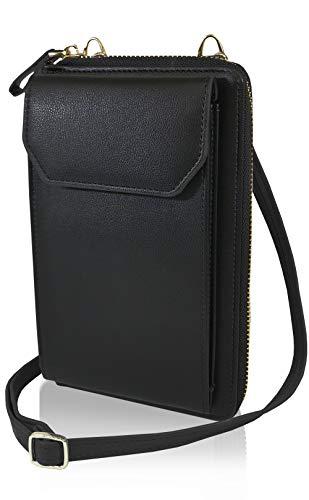 スマホポーチ ポシェット レディース シンプル ショルダー 財布 (ブラック)
