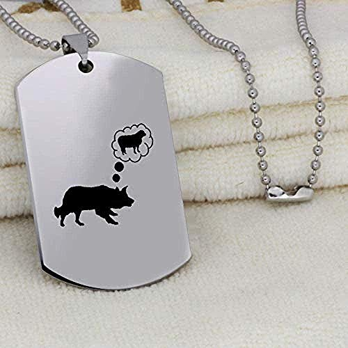 niuziyanfa Co.,ltd Necklace Wolf Love Sheep Pendant Neckalce Stainless Steel Engraved Necklace Valentine S DayGift