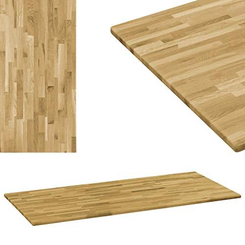 UnfadeMemory Tischplatte Massives Eichenholz Holzplatte als Esstischplatte Couchtischplatte Holzdekorplatte Massivholz-Tischplatte Klassisches Design (120 x 60 cm, Rechteckig 23 mm)