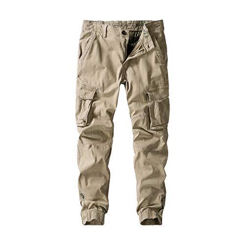 Pantalones Cargo para Hombre, Multibolsillos, Color sólido, Informales, cómodos, clásicos, a la Moda, con viga, Pantalones Rectos relajados 36