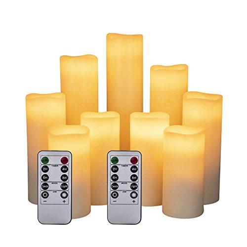"""LED Kerzen Set von 9 Flammenlose Kerzen Batteriebetriebene Kerzen D2.2xH 4\""""5\"""" 6\""""7\"""" 8\""""9\"""" Echtwachssäule Kerzen Flackern mit Fernbedienung und Timer-Steuerung, Elfenbein Farbe(9x1)"""
