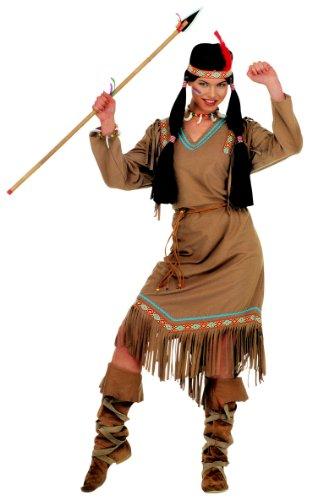 COOLMP Déguisement Indienne Manches Longues Femme - Taille XL - Déguisement pour Adulte, Costume, soirée déguisée, Carnaval, Nouvel an, Anniversaire