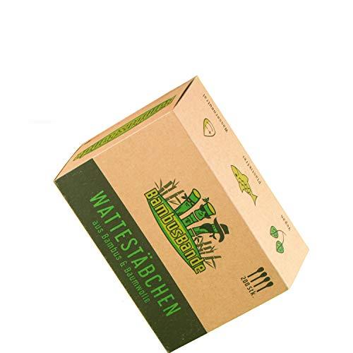 BambusBande - Wattestäbchen aus Bambus & Baumwolle, 200 Stück, Nachhaltige Alternative zu Holz, Plastik & Papier, 100% biologisch abbaubar, Umweltfreundliche Ohrenstäbchen