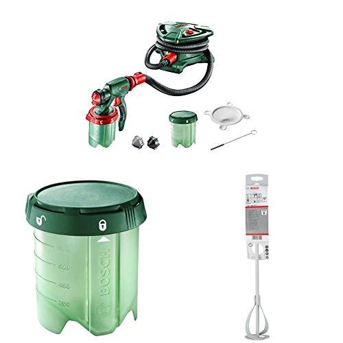Bosch elektrisches Farbsprühsystem PFS 5000 E (für Lack/ Lasur/ Wandfarbe, im Karton) + Constant Feed Farbbehälter für Bosch PSF 3000-2, PFS 5000 E (1000 ml) + Rührkorb