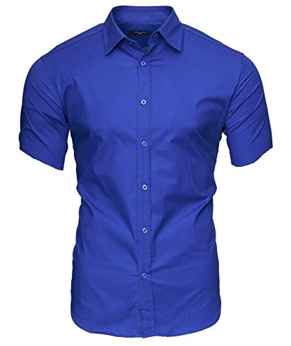 Kayhan Herren Kurzarm Hemd Caribic Blau (L)