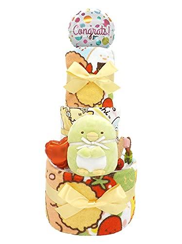 おむつケーキ すみっコぐらし ぬいぐるみ&タオルセット付き ペンギン? Y 3段 ck-617y (メリーズ新生児サイズ)