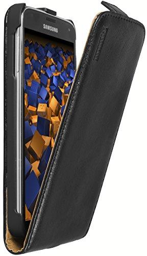 mumbi Echt Leder Flip Hülle kompatibel mit Samsung Galaxy S5 / S5 Neo Hülle Leder Tasche Hülle Wallet, schwarz