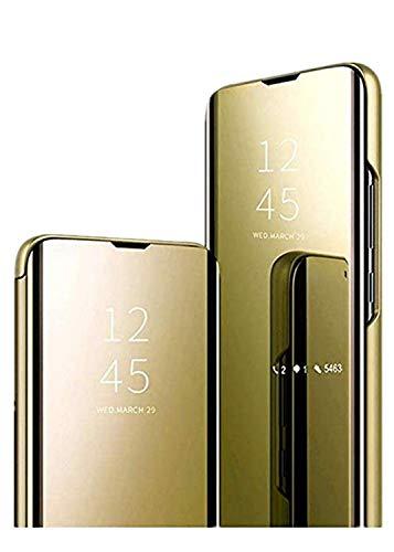 Compatible con Samsung Galaxy A71, funda transparente con espejo, carcasa con función atril, diseño especial para Samsung Galaxy (dorado)