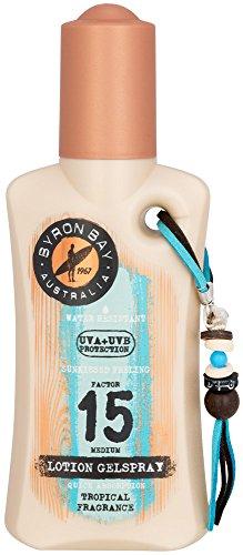 BYRON BAY Lotion solaire en spray SPF 15 200 ml | Spray solaire SPF 15 avec gel d'aloe vera, vitamine E et huile de noix | Crème solaire légère SPF 15 alternative