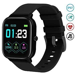 Reloj Inteligente Mujer,Smartwatch Hombre Impermeable IP67 Pulsera Actividad 1.4 Pulgada con Monitor de Ritmo cardíaco, Podómetro, Control de música, Reloj Actividad para Xiaomi Huawei iPhone 2