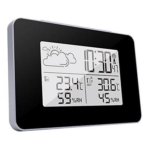 Estacion Meteorologica, Termómetro inalámbrico para estación meteorológica con Sensor Interior y Exterior con Luces LED Digitales