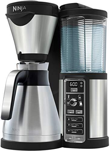 Ninja CF065EU Kaffeeautomat mit Timer und Auto-iQ Technologie (Kaffeemaschine mit Thermoskanne aus Edelstahl, Milchaufschäumer und 2 Thermo Tassen, Filter Kaffeebereiter) silber