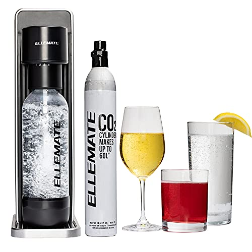 Ellemate Dynamic (Grey)- Soda Maker/No cord, Adjustable Fizz Levels/Make Seltzers or Mixed Drinks Anywhere/Includes Machine, PET Bottle, CO2 Cylinder