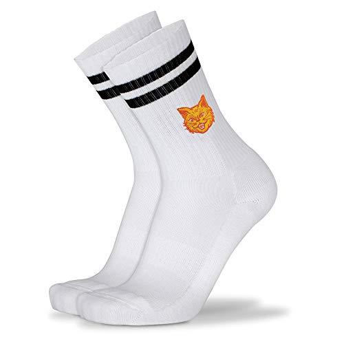 Mofreso Herren & Damen Retro Socken weiss mit Streifen und edler Stickerei - Kater - Baumwolle, fair produziert - Atmungsaktiv, angenehmes Tragegefühl - 1 Paar - 35-38