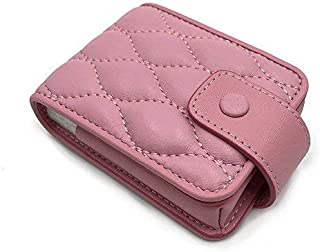 Longjet Lipstick Case with Mirror Cute Makeup Bag Genuine Leather Cosmetic Pouch (Pink)