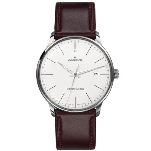 Junghans Orologio da polso da uomo, XL, con cronometro, analogico, automatico, in pelle, 027/4130.00