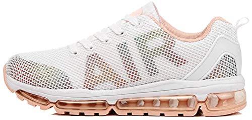 TORISKY Unisex Sportschuhe Herren Damen Laufschuhe Sneakers Turnschuhe Fitness Mesh Air Leichte Schuhe Rot Schwarz Weiß (A61-WH37)
