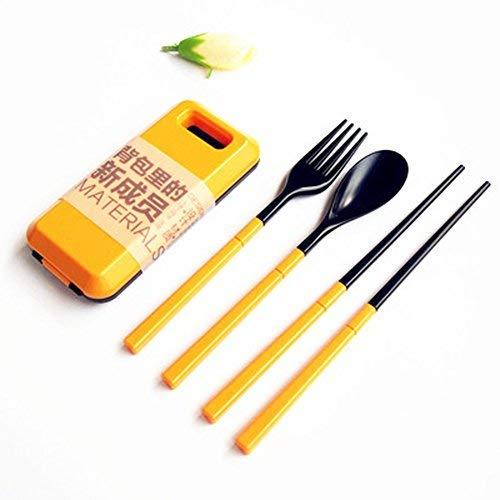 Fourchette Cuillère Baguettes Combinaison ABS En Plastique Vaisselle Ensemble de trois Portable Voyage Vert Ensemble Pliant Combinaison Baguettes Fourchette Cuillère