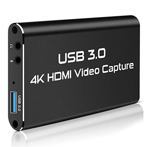 Rosmarinus Game Capture Card, 4K USB 3.0 HDMI Video Capture Card with HDMI Loop-Out 1080P 60FPS Live Streaming Game Recorder Device, Compatible Windows Linux OBS OS X Twitch for PS3 PS4 (Update Black)