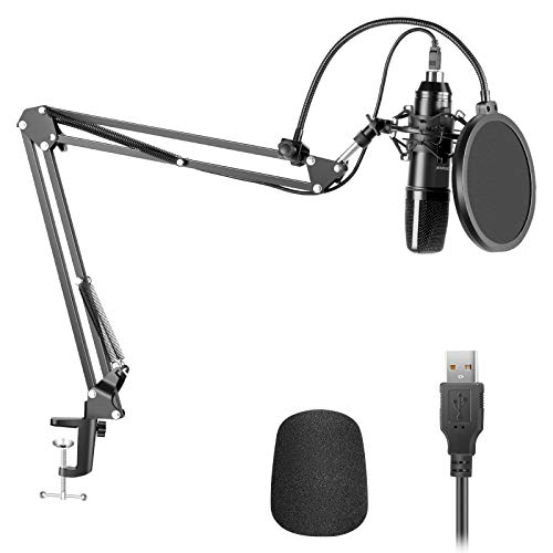 Neewer USB200 Kit Micrófono Condensador Cardioide Plug y Play de 192 kHz/24 bits con Chip de Sonido Profesional Soporte de Brazo Montaje Antichoque Filtro Pop para Tiktok YouTube Video Radiodifusión