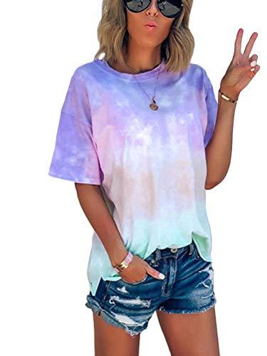 Orandesigne - T-Shirt, Damen, kurzärmelig, große Größe, Sommer, weit, lässig, T-Shirt, Top, V-Ausschnitt, bunt, modisch, Bluse, Oberteil Gr. 40, 01 Blau