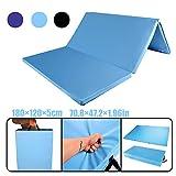 CCLIFE 180x120cm Tappeto da Esercizio Ginnastica Pilates Mat Rigido Materassino per Palestre Fitness Matte Yoga Tappetino Pieghevole da Allenamento, Colore:Azzurro
