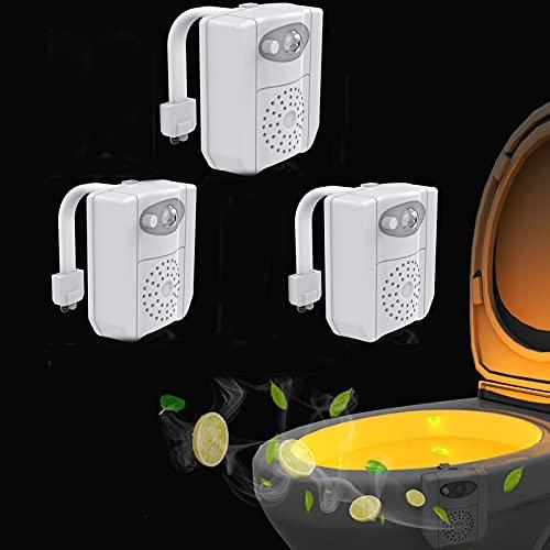 shjjyp Toilette Licht Led Toilette Nachtlicht Mit Uv Desinfektion Licht Wc Licht Mit Bewegungsmelder Und Wasserdicht 16 Farbe VeräNderung Und 2 Aromatherapie StüCk Nicht Batterien,3PCS