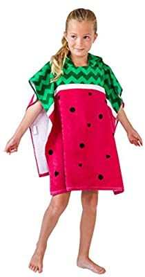 Toddler and Kids Hooded Beach Towel, Happy and Fun Watermelon Design. Ultra-Absorbent Cotton. Use for Bath, Beach and Pool. for All Seasons, Unisex (Watermelon)