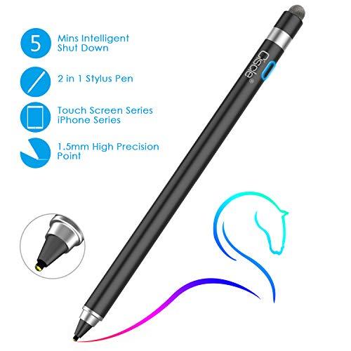 Stylus Stift, Ciscle 2 in 1 Eingabestift: 5-Minuten Auto Power Off und Faser Spitze, Kompatibel mit iPad Pro/iPad 2018/iPhone/Samsung -Schwarz