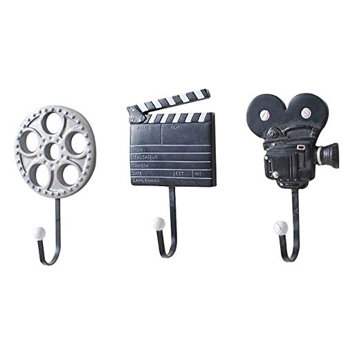 OH Coat Hooks Movies Shape Set of 3 Wall Mounted Hat Rack Wall Hanging Decoration Rustic Craft Decorative Wall Hooks Creative for Hat Towel Bag Bedroom Door Strong and Sturdy/Blac