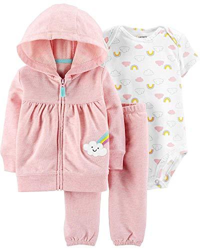 Carter's Baby Girls' 3-Piece Little Jacket Set (Pink/Heather Rainbows, Newborn)