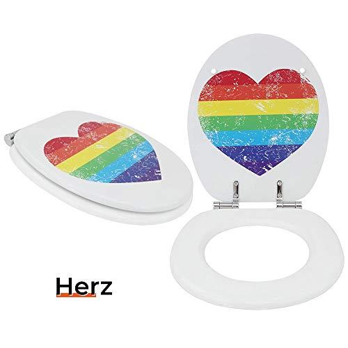 Toilettensitz WC-Sitz mit Absenkautomatik und verzinkten Scharnieren - Klobrille Klodeckel Toilettendeckel aus MDF … (Herz)