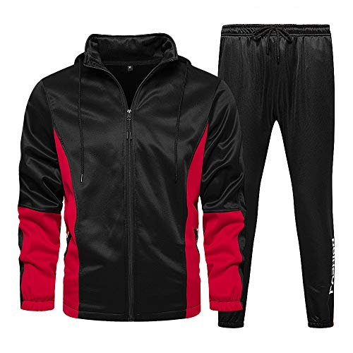 LBL - Conjunto de chándal para hombre con capucha y bolsillos con cremallera y pantalón de cordón para otoño, deporte al aire libre Negro XL