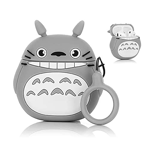 Funda Air Pods Silicona Compatible con Air Pods 2 & 1, Lindo Divertida Diseño de Dibujos Animados 3D Fundas Protectora [Serie de Dibujos Animados] (Smile Totoro) con Correa Anti Pérdida