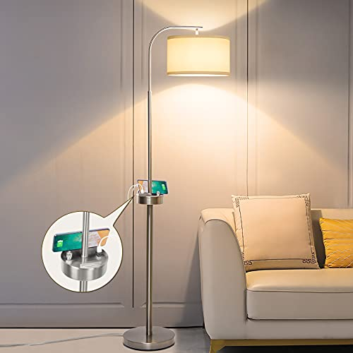 Led Floor Lamp Fully Dimmable Modern Floor Lamp with 2 USB Ports, Boncoo Tall Pole Lamp USB Floor Lamp with Phone Stand Silver Reading Standing Light for Living Room, Bedroom, A19 8W Led Bulb Included