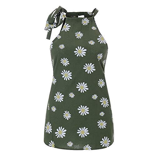 Janly Clearance Sale Blusa sin mangas para mujer, con estampado de margaritas, sin mangas, cuello redondo, informal, para verano (verde oscuro/XXL)