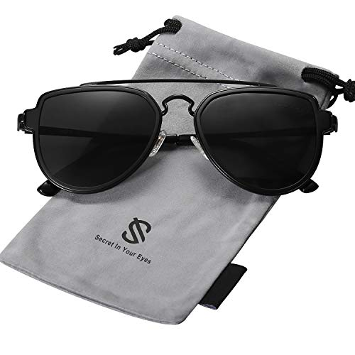 SOJOS Retro Doppelte Metallbrücken Polarized Linse Sonnenbrille für Herren Damen SJ1051 mit Schwarz Rahmen/Grau Polarized Linse