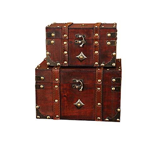 2 stks/set Vintage handgemaakte opbergdoos - vintage houten opbergdoos antieke stijl sieraden Organizer voor garderobe sieradendoos Trinket Box decoratieve doos