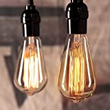 Vintage Edison Light Bulbs 6Pcs E26 Base Dimmable Antique Filament Light Bulbs 60 Watt Decorative Incandescent Light Bulbs, Amber Bulbs(Warm White)