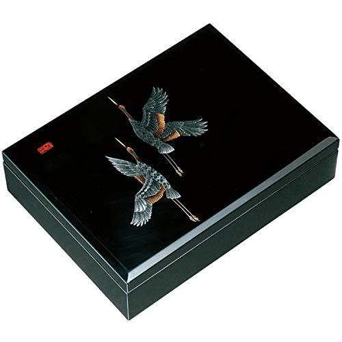 中西工芸 木製 合口文庫 黒 万葉鶴 30cm (書類入れ)