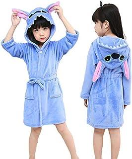 IAMZHL Albornoz con Capucha para niños Bata para niños Bata de baño Ropa de Dormir Animal para niñas Pijamas para niños-stitch-4-8