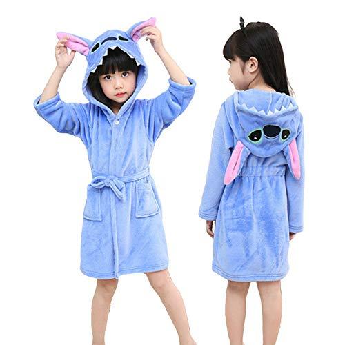 IAMZHL Albornoz con Capucha para niños Bata para niños Bata de baño Ropa de Dormir Animal para niñas Pijamas para niños-stitch-9-4T