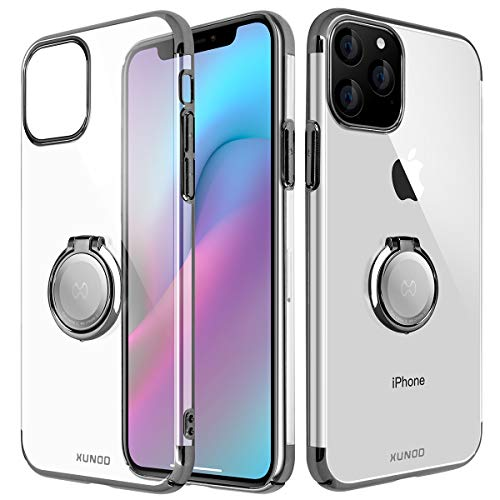 AICase XUNDD Funda para iPhone 11 Pro MAX,Carcasa de Cristal con Soporte magnético de 360 Grados,Soporte para Coche con imán para Apple iPhone 11 Pro MAX (Negro)