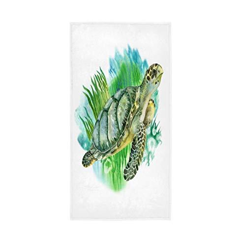 PIXIUXIU - Toallas de mano de secado rápido para acuarela, tortugas marinas, absorbentes, suaves, gruesas, absorbentes, para uso diario, 76 x 15 pulgadas, toallas de baño