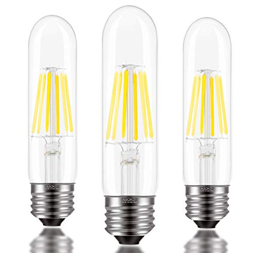 T10 LED Bulbs, 6W LED Tubular Bulb, Dimmable Edison Bulb Daylight White 4000K, 60 Watt Incandescent Equivalent, E26 Medium Base, Vintage Filament LED Light Bulb for Desk Lamp,Pendant Light (3 Pack)