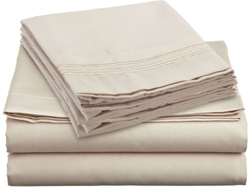 UBER Comfort Queen Size - Beige Cream Sheet Set - 6 Piece - 1 Flat Sheet, 1 Fitted Sheet with Double Elastic, 4 Pillowcases - Extra Soft - Deep Pockets - Easy Fit - Breathable