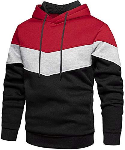 Rave on Friday Unisex Hoodie Rot Patchwork Fleece Pullover Langarm Farbblock Sweatshirt Atmungsaktive Sport Outwear Hoody Casual Tops mit Kanga Tasche und Kordelzug für Herren Damen L