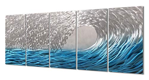 """Yihui Arts Blue Metal Wall Art, Large Scale Decor in Abstract Ocean Design, 3D Wall Art for Modern and Contemporary Decor, 5-Panels Measures 24""""x 64"""", Great for Indoor and Outdoor"""