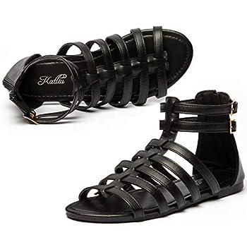 Womens Gladiator Sandals Strap Sandal Two Ankle Buckle Open Toe Summer Flat Zipper Gladiator Sandal Black 9