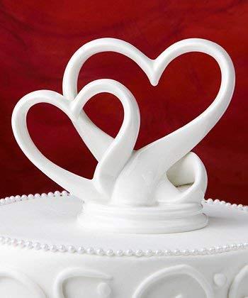 FLAIRELLE® Tortenaufsatz Herzen Porzellan weiß, Hochzeitstorte Cake Topper Herz, Hochzeitsdeko Tortenfigur Tortendeko Hochzeit, Porzellanfigur